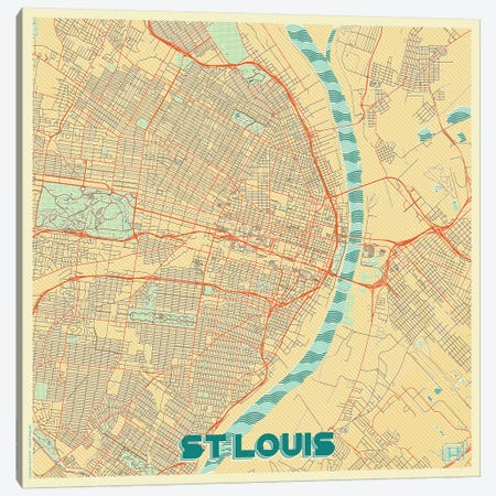 St. Louis Retro Urban Blueprint Map 3-Piece Canvas #HUR362} by Hubert Roguski Art Print