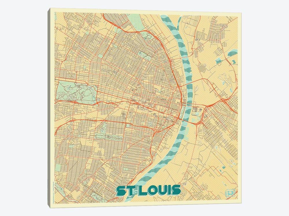 St. Louis Retro Urban Blueprint Map by Hubert Roguski 1-piece Canvas Wall Art