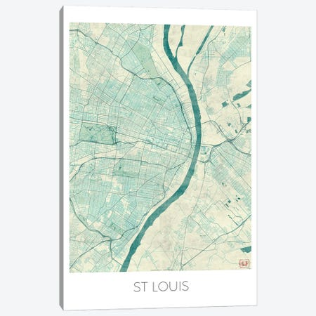 St. Louis Vintage Blue Watercolor Urban Blueprint Map 3-Piece Canvas #HUR363} by Hubert Roguski Canvas Art Print