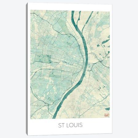 St. Louis Vintage Blue Watercolor Urban Blueprint Map Canvas Print #HUR363} by Hubert Roguski Canvas Art Print