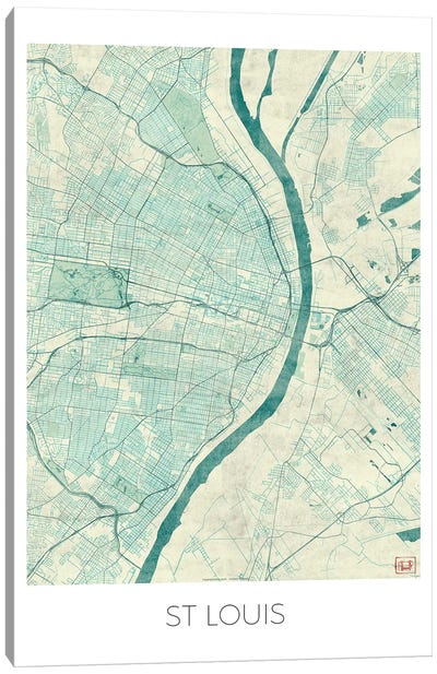 St. Louis Vintage Blue Watercolor Urban Blueprint Map Canvas Art Print