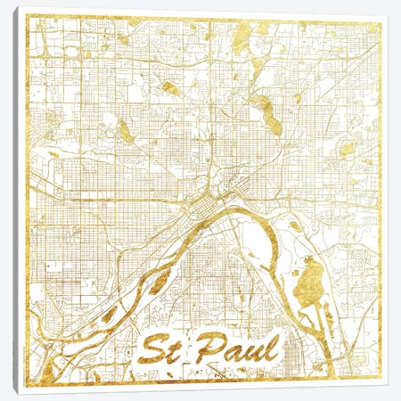 St. Paul Gold Leaf Urban Blueprint Map Canvas Print #HUR364} by Hubert Roguski Canvas Wall Art