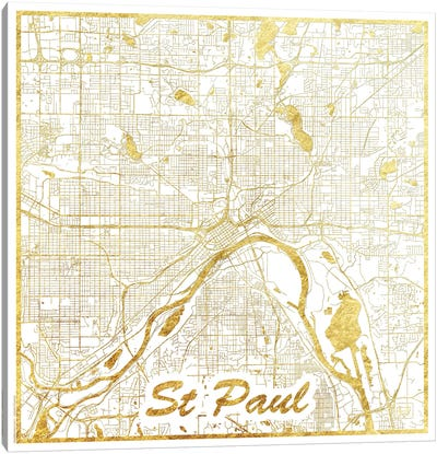 St. Paul Gold Leaf Urban Blueprint Map Canvas Art Print