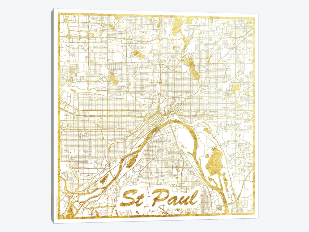 St. Paul Gold Leaf Urban Blueprint Map by Hubert Roguski 1-piece Canvas Art