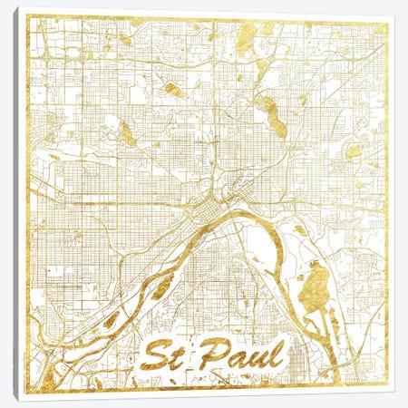 St. Paul Gold Leaf Urban Blueprint Map Canvas Print #HUR364} by Hubert Roguski Canvas Wall Art