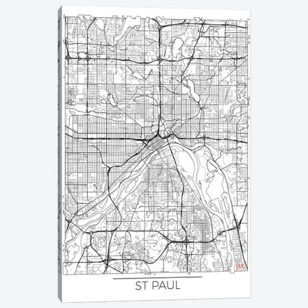 St. Paul Minimal Urban Blueprint Map Canvas Print #HUR365} by Hubert Roguski Canvas Art