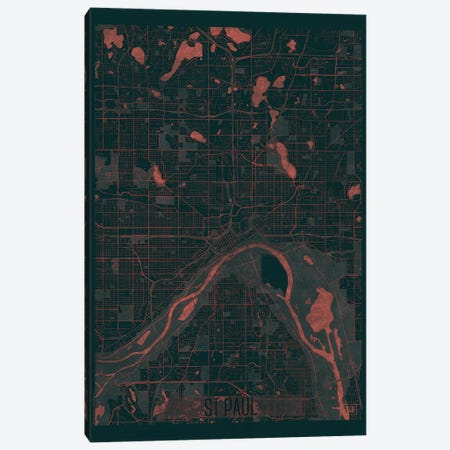 St. Paul Infrared Urban Blueprint Map Canvas Print #HUR366} by Hubert Roguski Canvas Wall Art