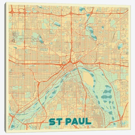 St. Paul Retro Urban Blueprint Map Canvas Print #HUR367} by Hubert Roguski Canvas Wall Art