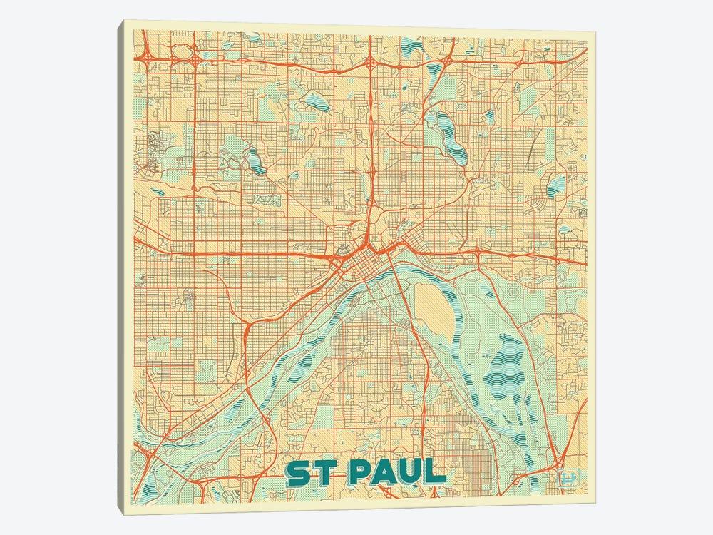 St. Paul Retro Urban Blueprint Map by Hubert Roguski 1-piece Art Print