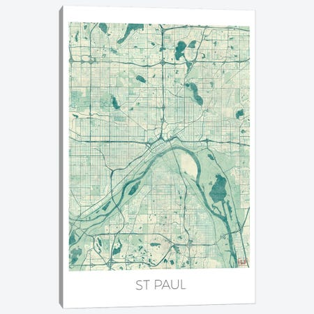 St. Paul Vintage Blue Watercolor Urban Blueprint Map Canvas Print #HUR368} by Hubert Roguski Art Print