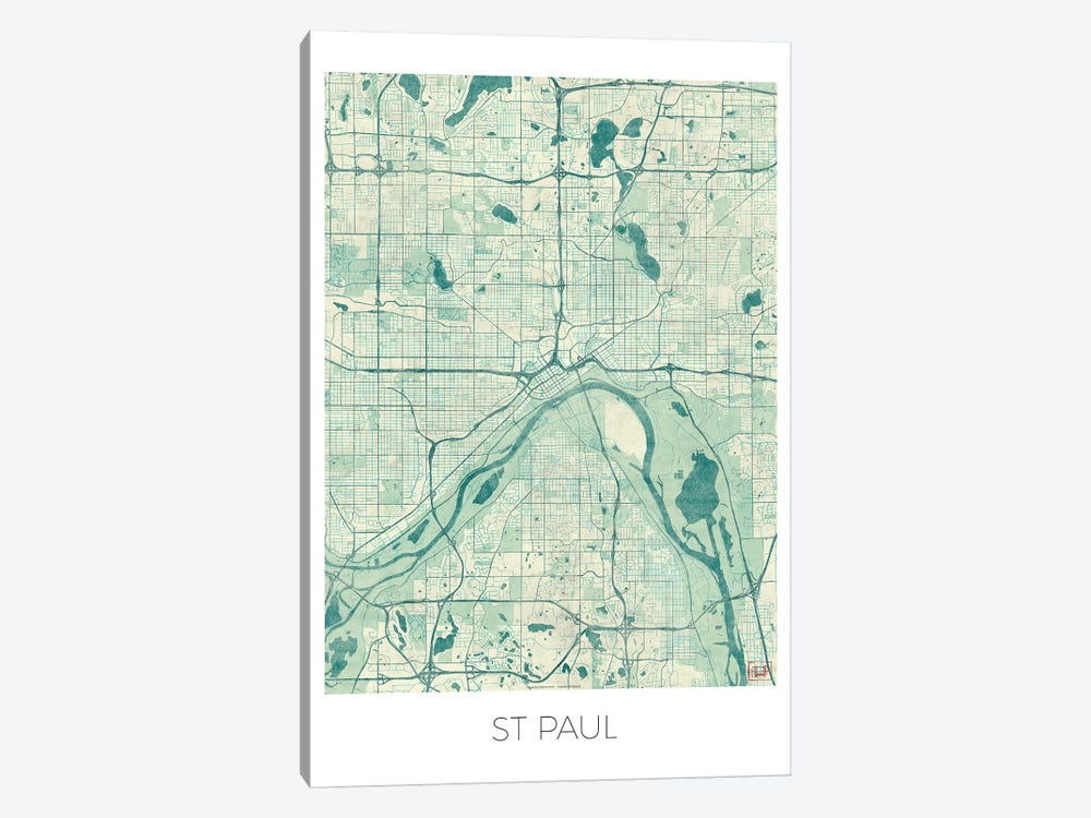 St. Paul Vintage Blue Watercolor Urban Blueprint Map by Hubert Roguski 1-piece Canvas Wall Art