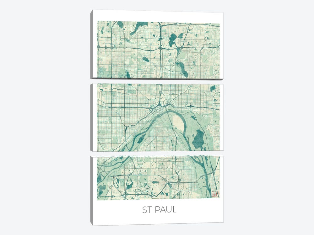 St. Paul Vintage Blue Watercolor Urban Blueprint Map by Hubert Roguski 3-piece Canvas Wall Art
