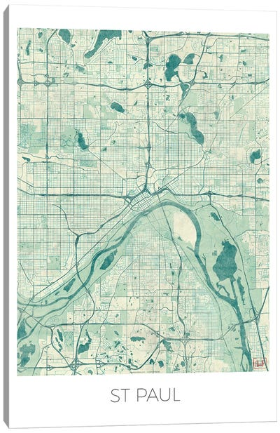 St. Paul Vintage Blue Watercolor Urban Blueprint Map Canvas Art Print