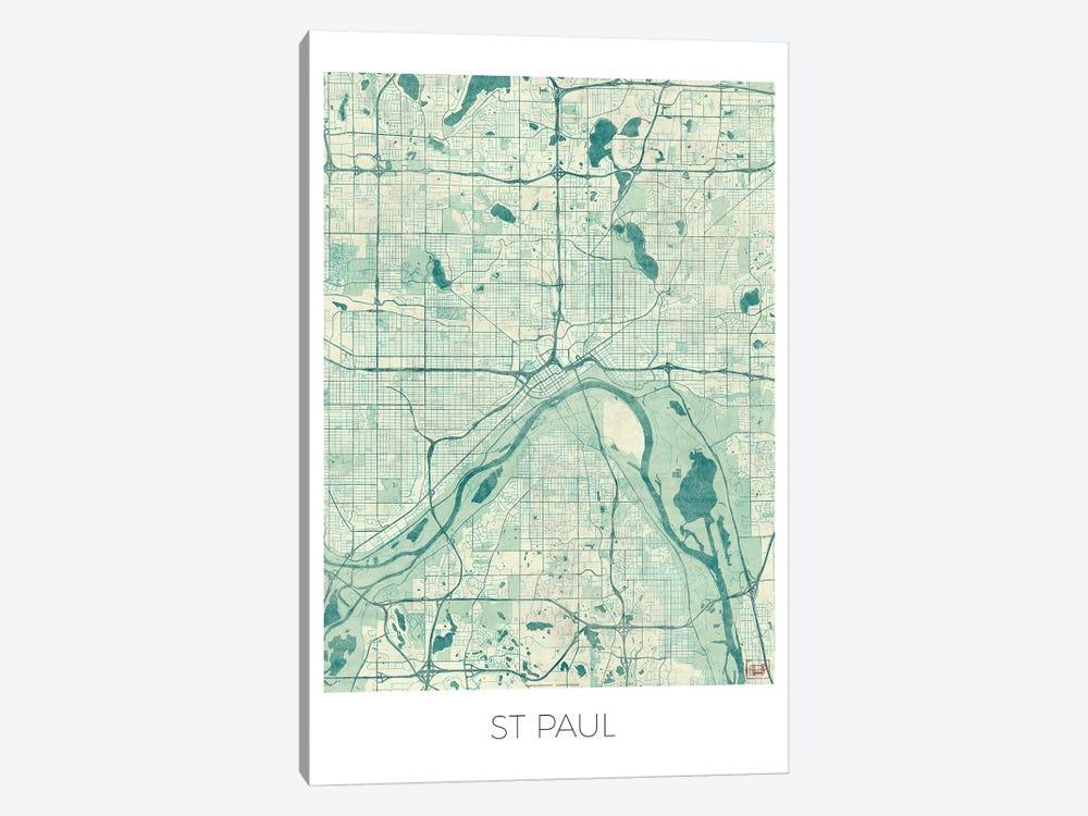 St. Paul Vintage Blue Watercolor Urban Blueprint Map by Hubert Roguski 1-piece Canvas Wall Art