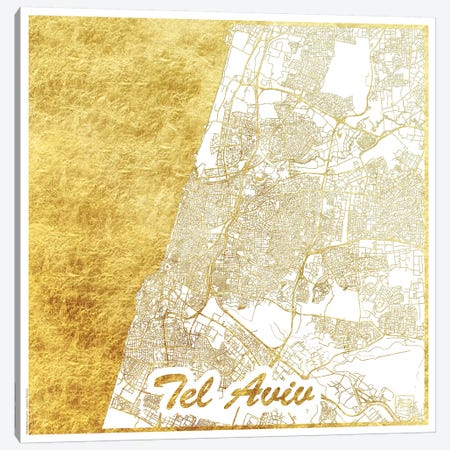 Tel Aviv Gold Leaf Urban Blueprint Map Canvas Print #HUR369} by Hubert Roguski Canvas Print