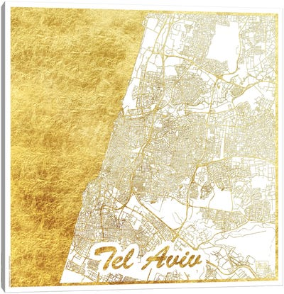 Tel Aviv Gold Leaf Urban Blueprint Map Canvas Art Print