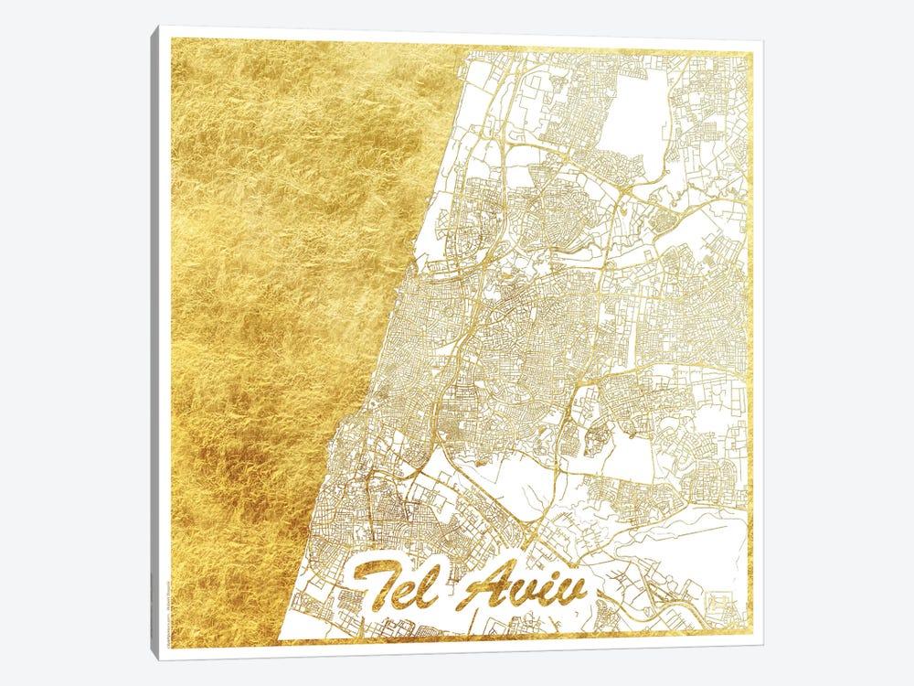 Tel Aviv Gold Leaf Urban Blueprint Map by Hubert Roguski 1-piece Canvas Print