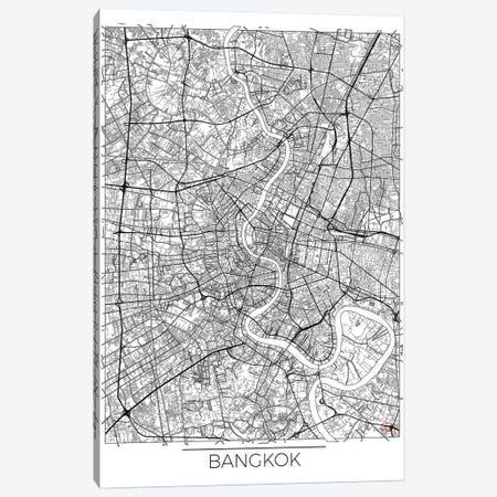 Bangkok Minimal Urban Blueprint Map 3-Piece Canvas #HUR36} by Hubert Roguski Art Print
