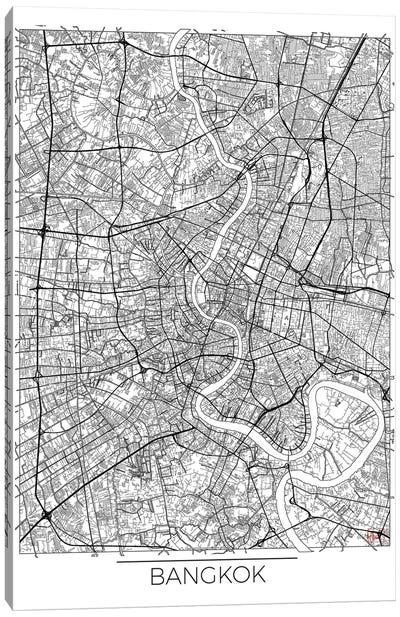 Bangkok Minimal Urban Blueprint Map Canvas Art Print