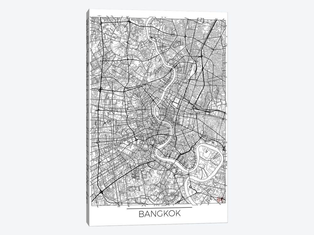 Bangkok Minimal Urban Blueprint Map by Hubert Roguski 1-piece Canvas Print