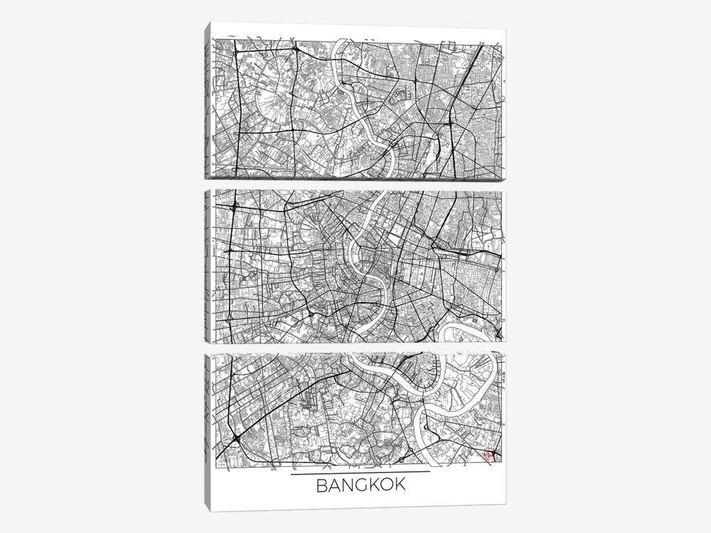 Bangkok Minimal Urban Blueprint Map by Hubert Roguski 3-piece Canvas Art Print