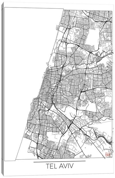 Tel Aviv Minimal Urban Blueprint Map Canvas Art Print