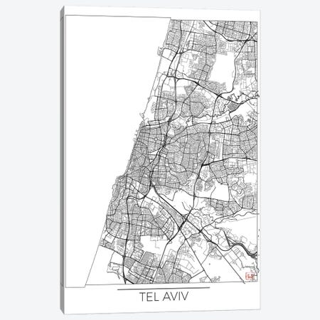 Tel Aviv Minimal Urban Blueprint Map Canvas Print #HUR370} by Hubert Roguski Canvas Wall Art