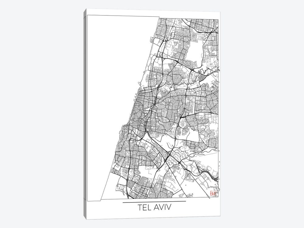 Tel Aviv Minimal Urban Blueprint Map by Hubert Roguski 1-piece Canvas Art Print