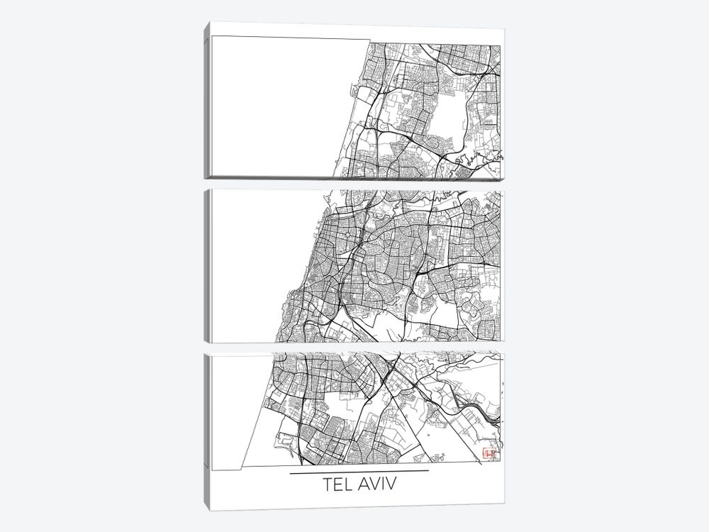 Tel Aviv Minimal Urban Blueprint Map by Hubert Roguski 3-piece Art Print