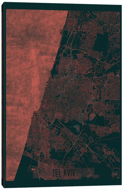 Tel Aviv Infrared Urban Blueprint Map Canvas Art Print
