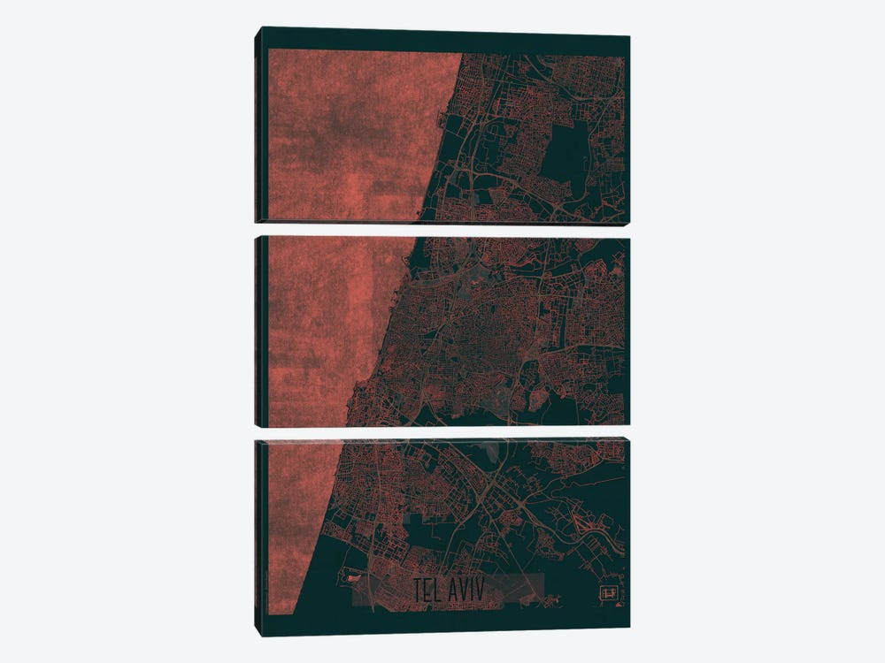 Tel Aviv Infrared Urban Blueprint Map by Hubert Roguski 3-piece Canvas Wall Art