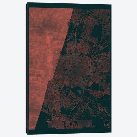 Tel Aviv Infrared Urban Blueprint Map Canvas Print #HUR371} by Hubert Roguski Canvas Wall Art