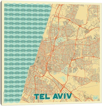 Tel Aviv Retro Urban Blueprint Map Canvas Art Print