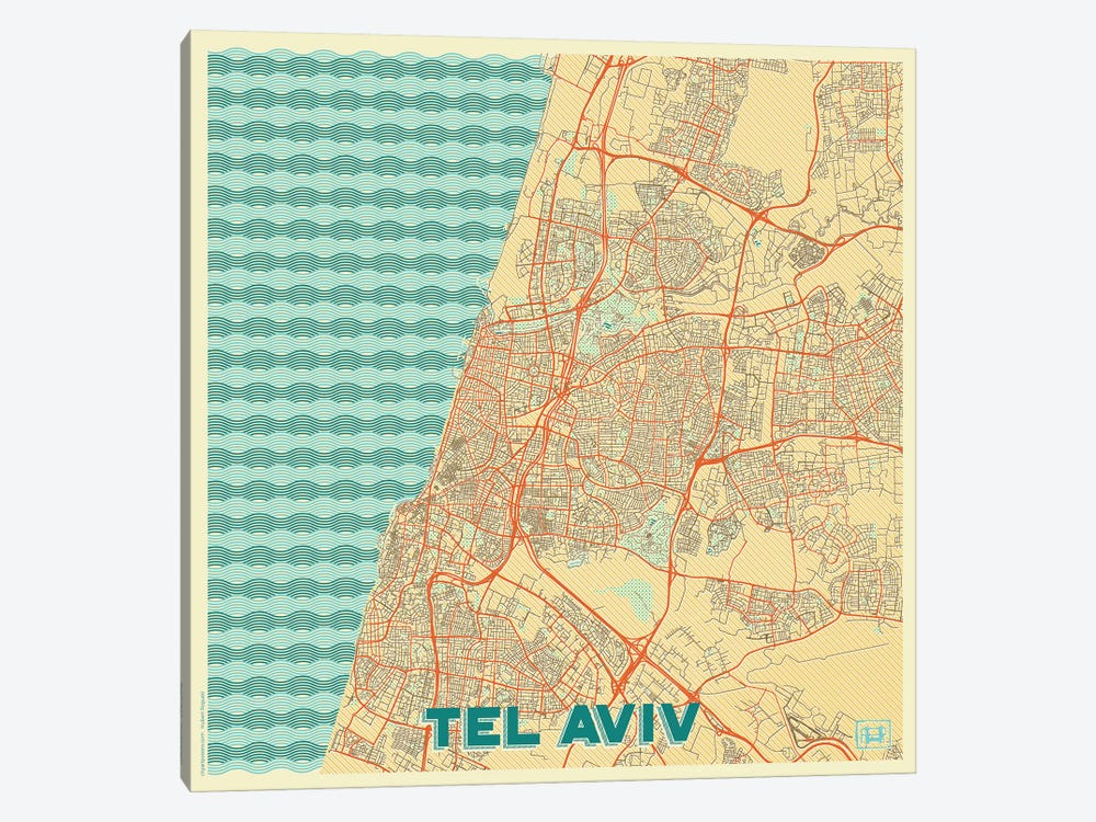 Tel Aviv Retro Urban Blueprint Map by Hubert Roguski 1-piece Canvas Art Print