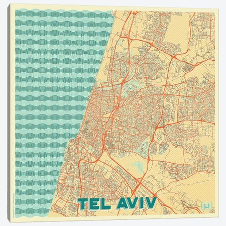 Tel Aviv Retro Urban Blueprint Map 3-Piece Canvas #HUR372} by Hubert Roguski Canvas Wall Art