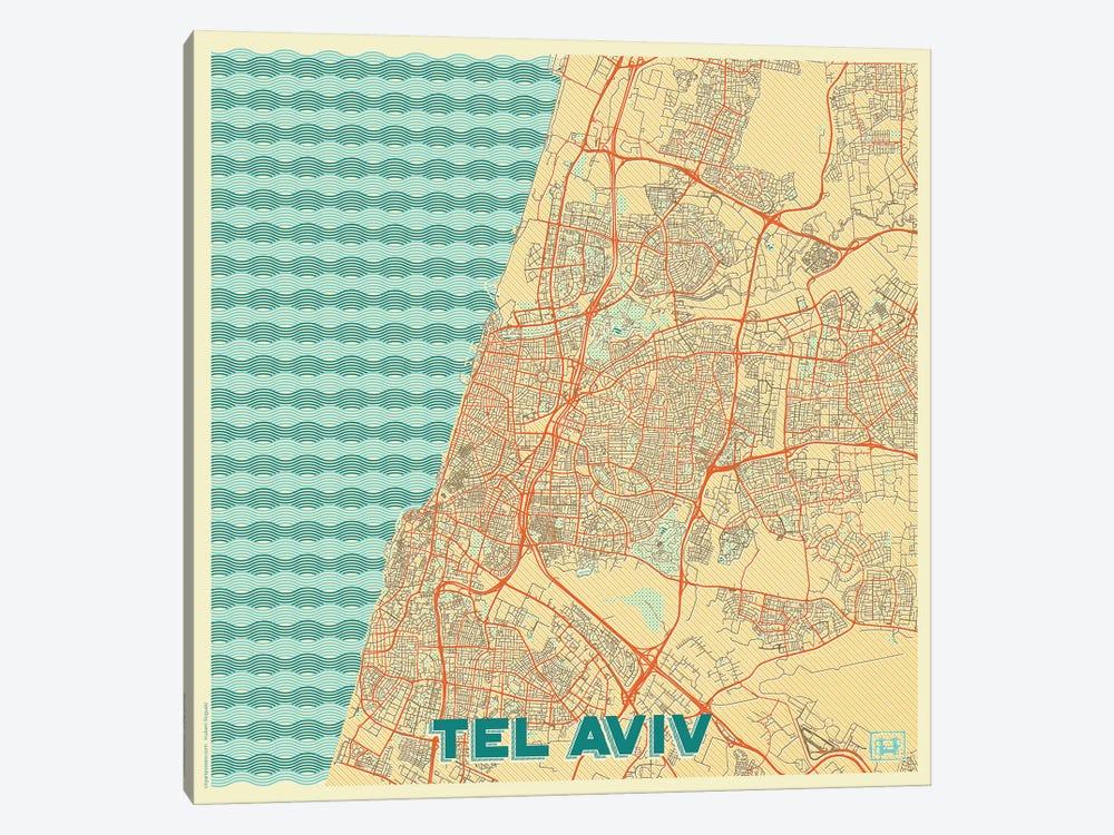 Tel Aviv Retro Urban Blueprint Map by Hubert Roguski 1-piece Canvas Art Print