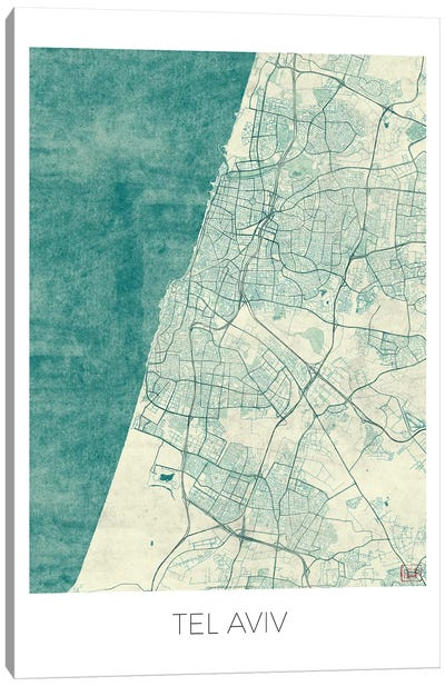 Tel Aviv Vintage Blue Watercolor Urban Blueprint Map Canvas Art Print