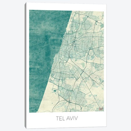 Tel Aviv Vintage Blue Watercolor Urban Blueprint Map Canvas Print #HUR373} by Hubert Roguski Canvas Wall Art