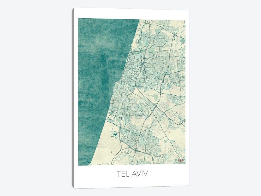 Tel Aviv Vintage Blue Watercolor Urban Blueprint Map by Hubert Roguski 1-piece Canvas Artwork