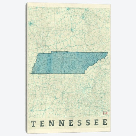 Tennessee Map Canvas Print #HUR374} by Hubert Roguski Canvas Print