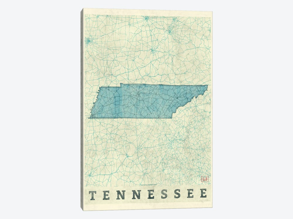 Tennessee Map by Hubert Roguski 1-piece Canvas Print