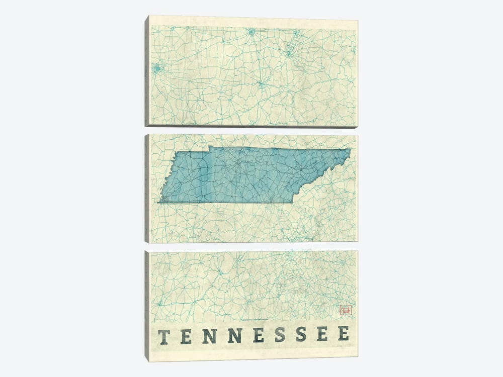 Tennessee Map by Hubert Roguski 3-piece Art Print