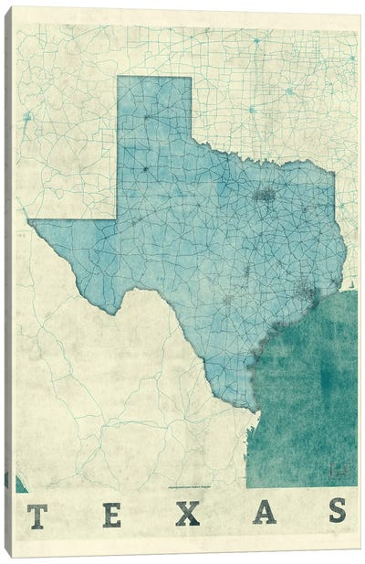 Texas Map Canvas Art Print