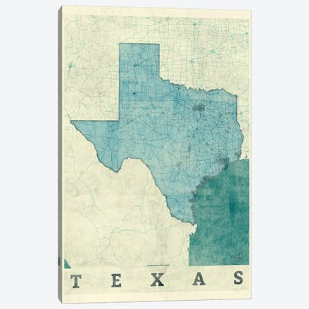 Texas Map Canvas Print #HUR375} by Hubert Roguski Canvas Print