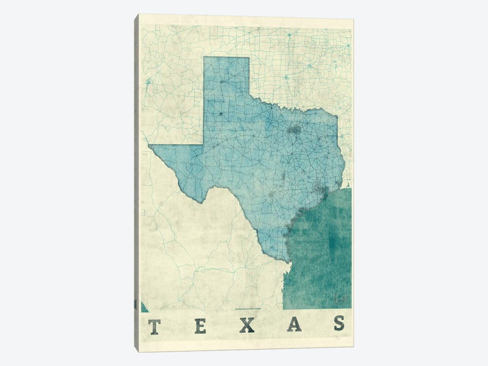 Texas Map by Hubert Roguski 1-piece Canvas Art