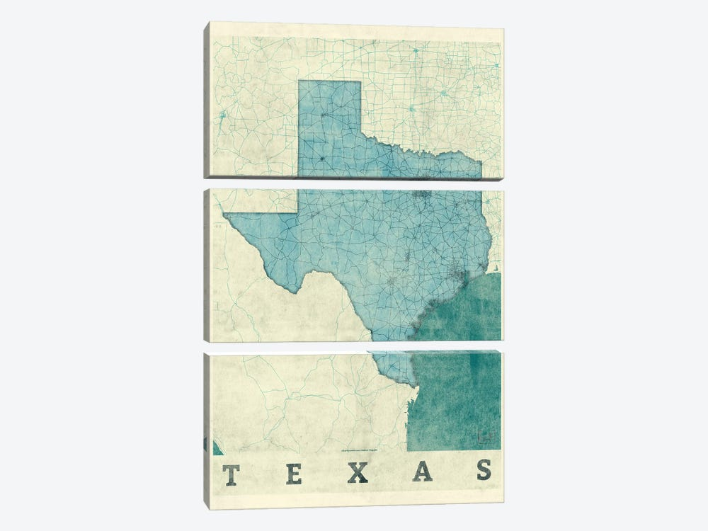 Texas Map by Hubert Roguski 3-piece Canvas Wall Art