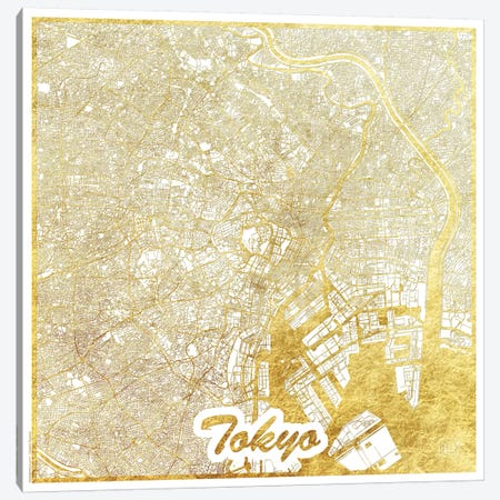 Tokyo Gold Leaf Urban Blueprint Map Canvas Print #HUR376} by Hubert Roguski Canvas Print