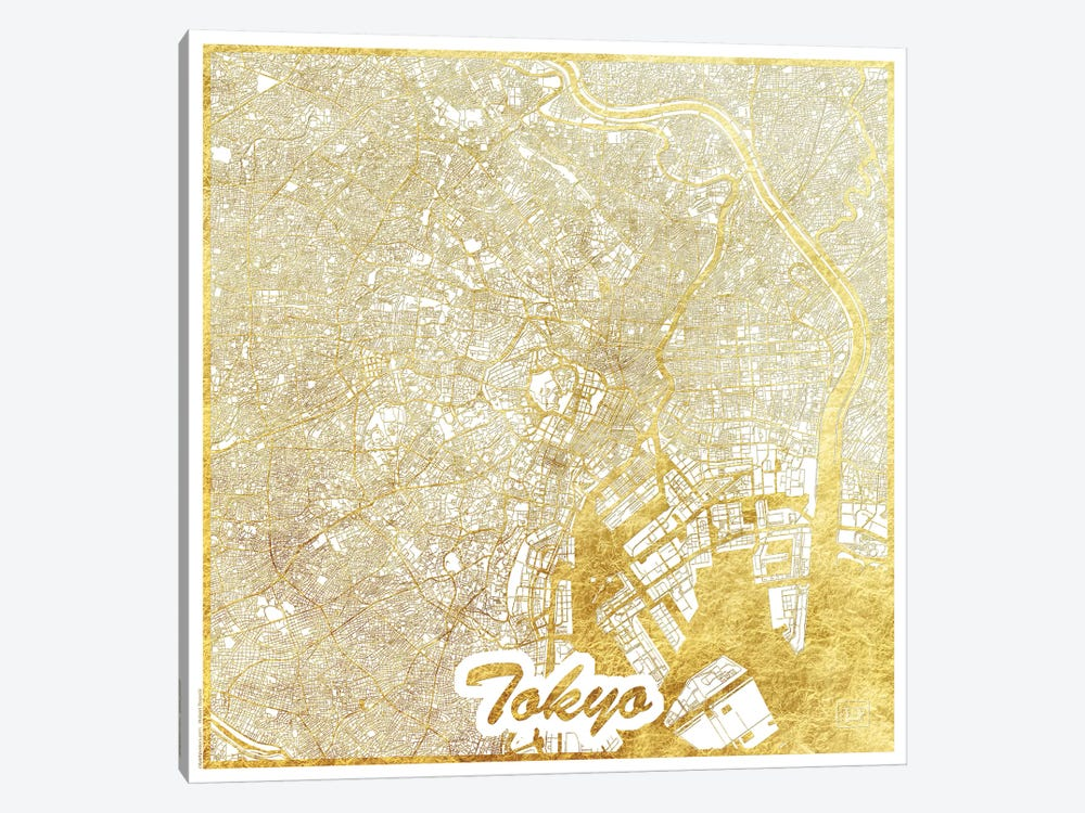 Tokyo Gold Leaf Urban Blueprint Map by Hubert Roguski 1-piece Canvas Art Print