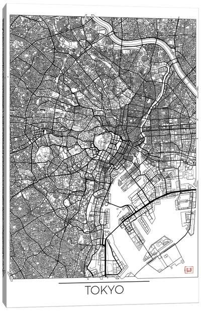 Tokyo Minimal Urban Blueprint Map Canvas Art Print