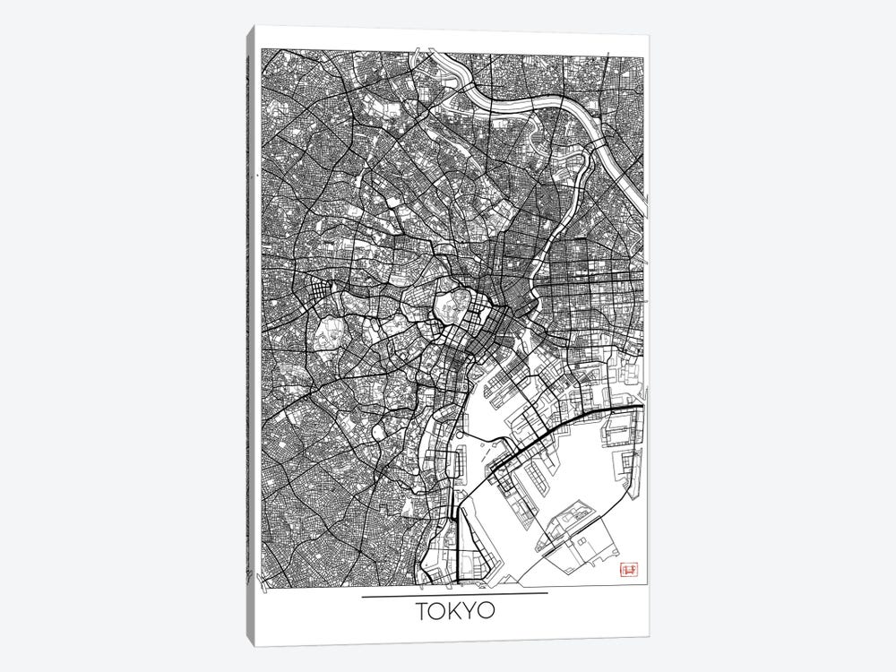 Tokyo Minimal Urban Blueprint Map 1-piece Canvas Artwork